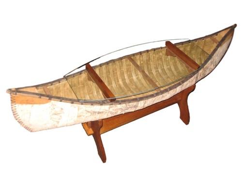 Canoe Coffee Table Glass Top.Birch Bark Canoe Coffee Table