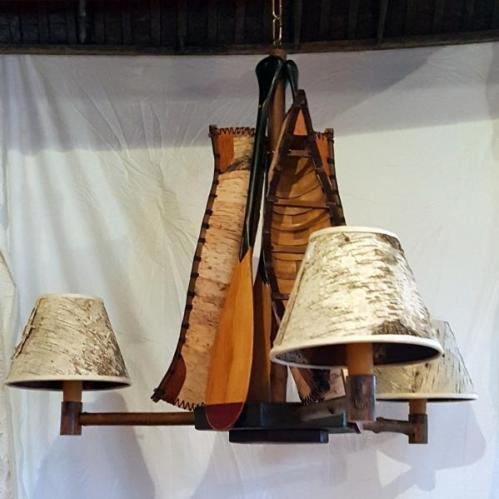 Birch Bark Canoe Chandelier - Large
