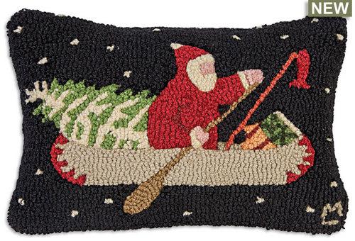 Santa In Canoe Pillow