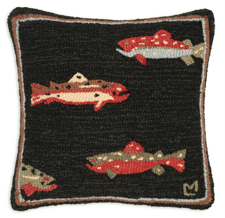 Hooked Wool Fish Pillow