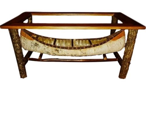 Canoe Coffee Table Glass Top.Canoe Coffee Table With Hickory Base