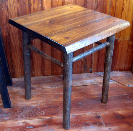 Hickory End Table with Pine Slab Top