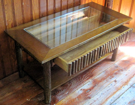 Hickory Log Coffee Table With Display