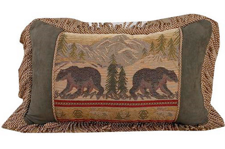 Bear Pillow with Fringe