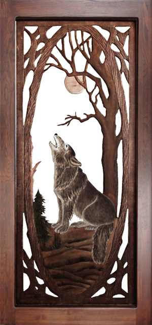 Carved wolf screen door