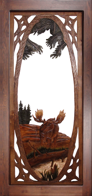 Carved Moose Screen Door