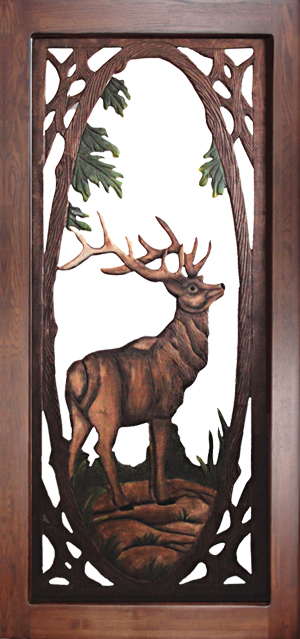 Carved Wood Screen Door - Elk