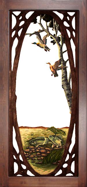 Carved Wood Screen Door - Lake Scene