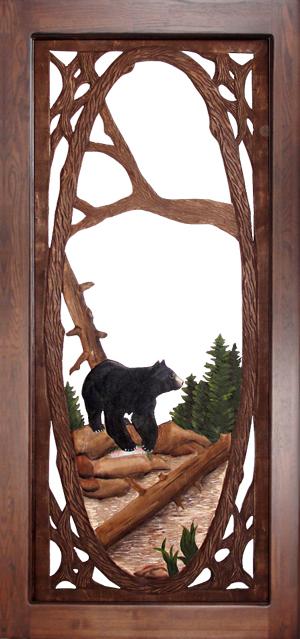 Carved Wood Screen Door - Bear