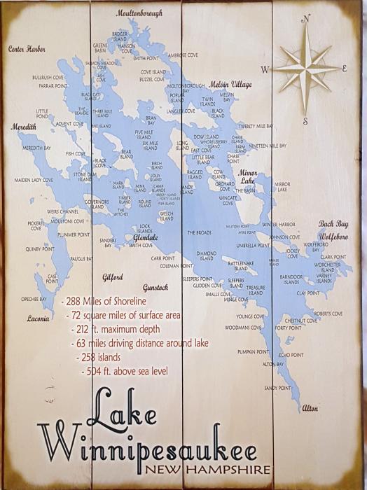Vintage Lake Winnipesaukee Map