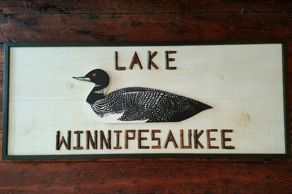 Large Custom Twig and Loon Sign