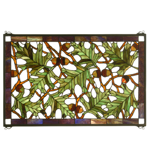 Acorns Oak Leaves Window