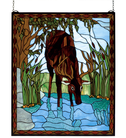 Stained Glass Deer Window