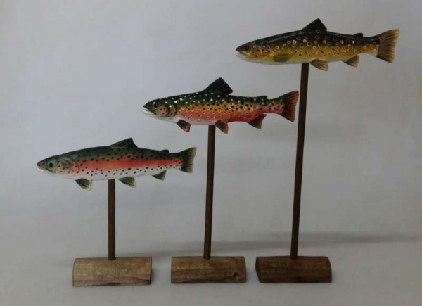 Trio of Trout Carvings
