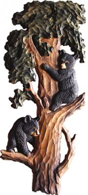 Bear Cubs in Tree Carving